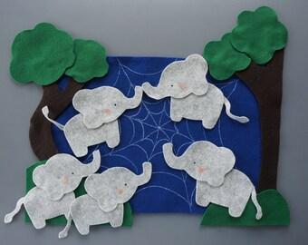 Five Elephants Went Out to Play felt set