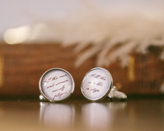Grooms Cuff Links - Shakespeare Cufflinks - All The World's A Stage Quote - Gift For Groom - Cool Gifts For Guys