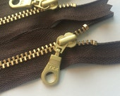 YKK Brass Gold Metal Donut Pull Zippers (5) Pieces - Autumn Brown 141 - 7 Inches