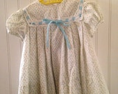 2t vintage white and blue flower dress