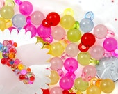 Small Bubble Charms - 15mm Small Transparent Drop Bubble Shape Ball Charms Acrylic or Plastic Dangly Charms or Pendants - 80 pc set