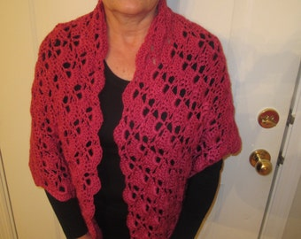 Coral Pink Crochet Triangle Shawl
