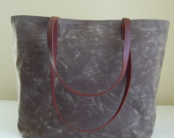Olive Waxed Canvas Medium Tote Bag with Leather Straps - Ready to Ship