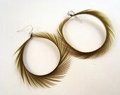 Spiked elegance olive Feather Earrings