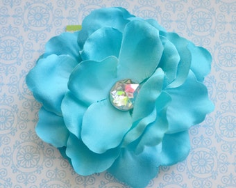 Large Turquoise Blue Flower Hairclip