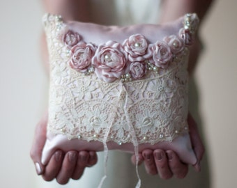 Ring Pillow, wedding lace ring bearer pillow, antique lace, blush, dusty pink, romantic fabric flower with pearls and rhinestones
