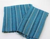 70s Vintage Fabric / Swedish Blue / Rustic Casual Scandinavian / Wool Tweed / Gray & Blue Stripe / 2 Yards