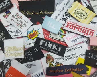 600pcs Custom Boutique Clothing Damask Woven Labels (Artwork) for Bottoms , Coats, Jackets. Hoodies, Sleepwear, T-Shirts, Tops, Skirts, Jean