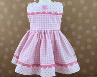 Made For American Girl Doll Other 18 Inch Dolls Pink and White Checks and Dots Split Bodice Sleeveless  Dress Matching Hair Bow
