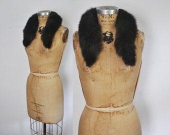 Chocolate Brown Fox Fur Collar / genuine fur / 1980s