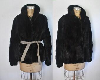Black Mink Jacket / genine fur Coat / S-M