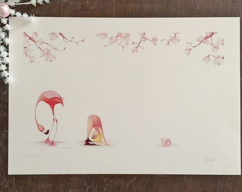 Flora and the Flamingo- Upside Down-  Limited Edition Signed Print