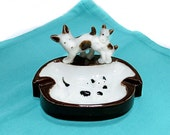 Dog Themed Ashtray 1940s Porcelain Vintage Japan Terriers Tobacciana Collectibles