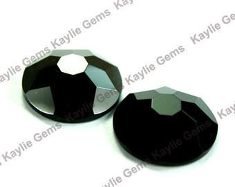 20mm Round Glass Jewel Stone Flat Back Snow Flake Cut 1 piece - Jet Black