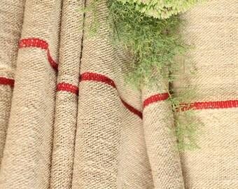 P 408 antique hemp linen roll french SUMMER RED 천 grainsack fabric 10.60yards wedding decor lin 23.23wide