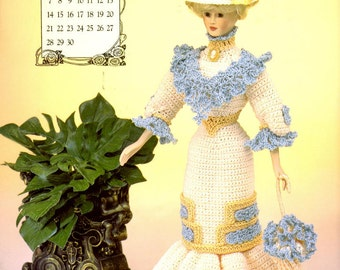 """Crochet Pattern Leaflet - Miss April  1996 - Afternoon Frock - Annie's Calendar Bed Doll Society - Fits 11.5"""" Fashion Doll"""