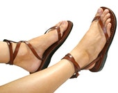 CLEARANCE SALE - Brown Ankle-Strap Leather Sandals for Men & Women - EURO # 37 - Handmade Unisex Sandals, Genuine Leather Sandals, Sale