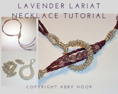 Lavender Lariat Necklace, Wire Jewelry Tutorial, PDF File instant download