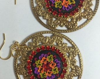 Medallion dangle earrings polymer clay red rhinestones