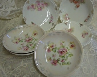 6 Assorted Antique Dessert Bowls - Floral China Bowls - Roses And Pansys - Mix And Match