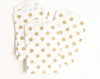 "25 Small Flat Metallic Gold Dots Favor Bags . 2.75"" x 4"""