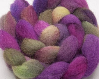 Hand dyed roving, EXMOOR HORN, English rare breed, hand painted tops roving, 100g  Colour; Hunters Inn
