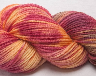Hand dyed yarn, Bluefaced Leicester,  BFL yarn, Hand painted DK, yarn, Indie dyed, 100g skein, colour; Rhubarb Jam