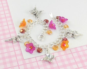 Girls Fairy Charm Bracelet in hot pink and orange   --  Mandy  --