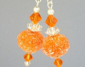 Orange earrings, sugar lampwork glass earrings, Orange Sherbert, orange artisan lampwork, Swarovski crystal