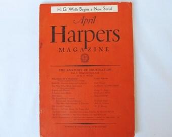Harpers 1936 April Magazine Orange Cover Vintage Ads Stories on Hitler Jazz Politics Culture 1930s H G Wells Advertisements History