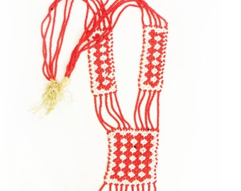 Beautiful Vintage Hand Beaded Tribal Necklace red and white seed beads