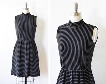 black striped dress, vintage 60s mod dress, wool mini dress, xxs