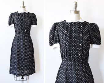 80s black floral dress, vintage 1980s peter pan collar dress, black and white flower print dress, xs/extra small