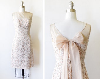 60s lace dress, vintage 1960s lace wiggle dress, champagne lace cocktail dress, extra small/xs - AS IS