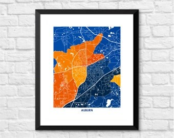 Auburn Alabama Art Map Print.  Choose your color and size.  Perfect for your Auburn University Tiger.