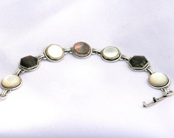Antique Victorian and Vintage Button Cufflink Bracelet Made with 7 Antique and Vintage Mother of Pearl Cuff links