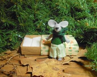 Baby girl nursery decor Felt stuffed mouse in box art matchbox plushie woodland animal green children birthday party decor creatures