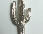 Vintage Cactus Lapel or Scarf Pin Men or Women Jewelry Accessory Silver Metal