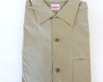 Men's Deadstock Vintage 50s Khaki Shirt, Loop Collar Short Sleeve, Workwear Uniform, Penney's Compass Sanforized Cotton, Large XL