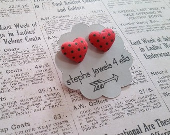 Coral Hearts with Green Polka Dots Fabric-Covered Button Earrings
