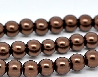 ON SALE Brown Glass Pearl Imitation Round Beads 6mm