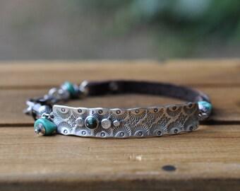 Sterling Silver Turquoise Bracelet, Turquoise Leather Bracelet, Oxidised Silver Studded Smoky Quartz Leather Bracelet