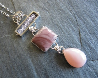 Necklace of Rose Quartz, Imperial Jasper, and Pink Opal in Sterling silver