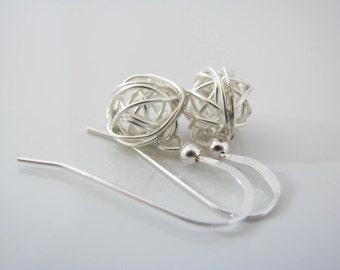 Love Knot Earrings Wire Ball Earrings Yarn Ball Earrings Sterling Silver