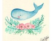 Little Whale - Original Watercolor Painting
