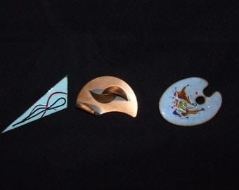 Vintage Modernist Brooch- Blue Enamel Copper Triangle}  Curvy Modernist Copper }