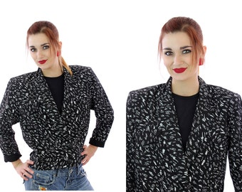 80s Cropped Jacket New Wave Punk Blazer Military Crop Black White Shapes Bolaro 1980s 90s Coat Small S Medium M