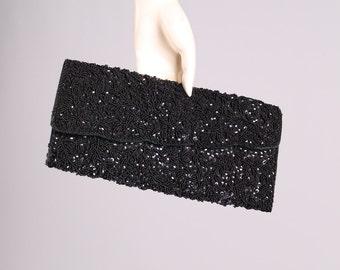 vtg 1950s 1960s black sequin + beaded clutch purse tuxedo evening dress hand bag