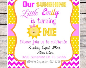 You Are my Sunshine Birthday Invitation, You are My Sunshine Birthday Party, DIY Printable Invitation in Pinks and Yellow