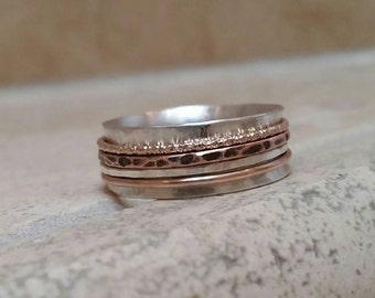 Pre Christmas Sale - Sterling Silver Spinner Ring with Tri Metal Spinners in Gold Copper and Sterling Silver Multi Metal Spinner Fidget Ring